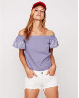 Express petite off the shoulder puff sleeve tee