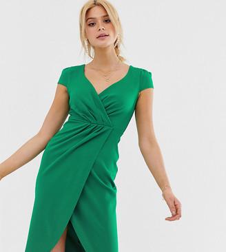 Bardot City Goddess Tall Wrap Over Pencil Midi Dress-Green