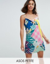Asos Mix Print Drape Slip Dress