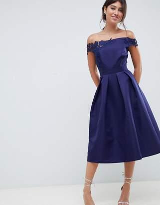 Little Mistress bardot full prom midi dress with applique-Navy