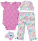 Baby Gear Baby Girl 4-Piece Bodysuit & Pants Set