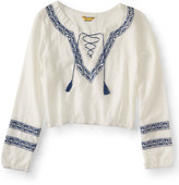 Prince & Fox Embroidered Lace Up Peasant Top