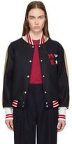 MAISON KITSUNÉ Navy Bicolor Teddy Bomber Jacket