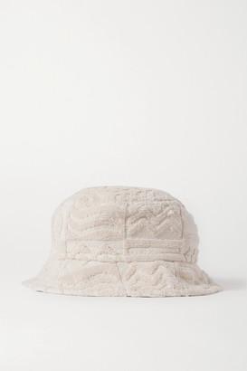 LUCY FOLK Oasis Cotton-terry Bucket Hat - Ecru