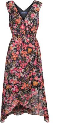 Rachel Roy Lurex Stripe Floral Jacquard Midi Dress