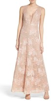 BCBGMAXAZRIA Women's Illusion V-Neck Lace Gown