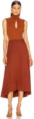 Victoria Beckham High Neck Sleeveless Midi Dress in Chestnut | FWRD