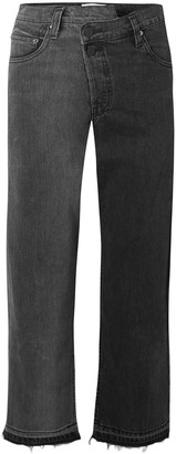 Monse Two-tone Distressed Mid-rise Straight-leg Jeans