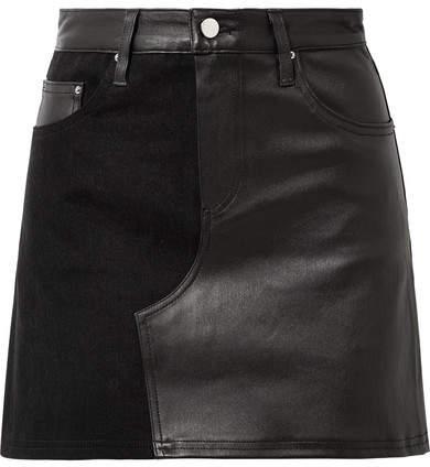 Amiri Leather And Denim Mini Skirt - Black
