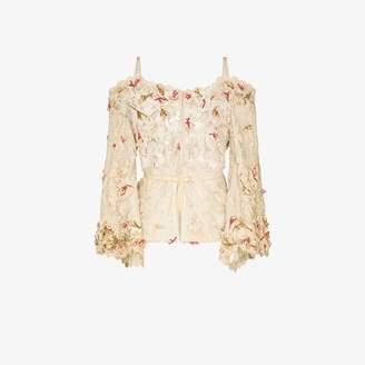 One Vintage Lace flower applique blouse