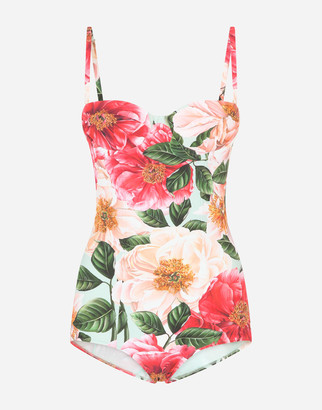 Dolce & Gabbana Camellia-Print Balconette One-Piece Swimsuit