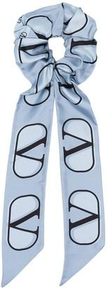 Valentino VLOGO-print silk hair tie