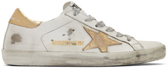 Golden Goose SSENSE Exclusive White and Gold Superstar Sneakers