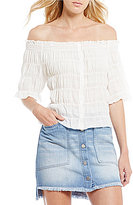 Chelsea & Violet Cold-Shoulder Button Down Top