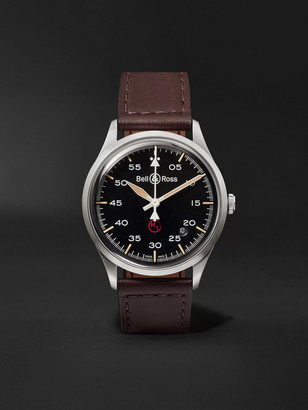 Bell & Ross Br V1-92 Military Automatic 38.5mm Stainless Steel And Leather Watch, Ref. No. Brv192-mil-st/sca