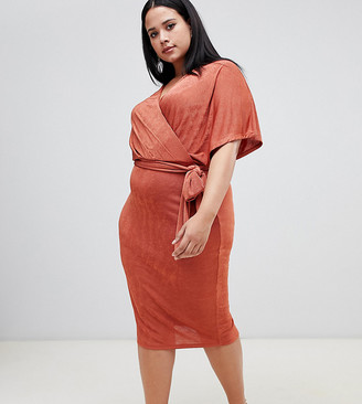 Asos DESIGN Curve exclusive slinky wrap tie belt midi dress