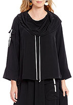 IC Collection Cowl Drawstring Neck Blouse
