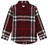 Burberry Dark Red Flannel Button Down Shirt