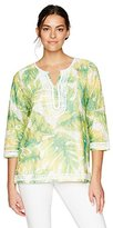 Alfred Dunner Women's Tropical Print Tunic 3/4 Slv