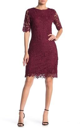 Nina Leonard Jewel Neck Lace Dress