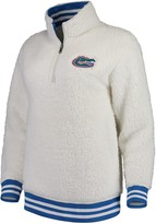 Unbranded Women's Cream Florida Gators Varsity Banded Sherpa Quarter-Zip Pullover Jacket