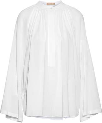Michael Kors Gathered Cotton-gauze Blouse