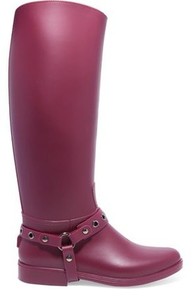 Red(v) Strap-detailed Rubber Rain Boots