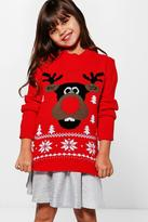 Boohoo Girls 3D Rudolph Nose Christmas Jumper