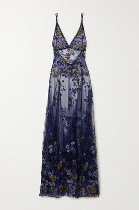 I.D. Sarrieri Embroidered Satin-trimmed Tulle Maxi Dress - Blue