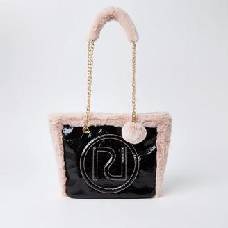 River Island Girls Black RI crinkle borg shopper tote bag