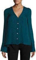 Cinq à Sept Clothing Emerson V-Neck Silk Blouse, Green Topaz
