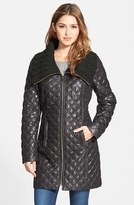 Via Spiga Women's Knit Collar Quilted Front Zip Coat