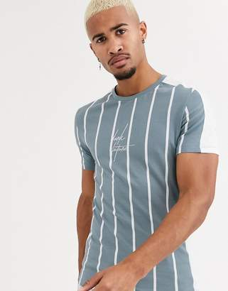 Asos Design DESIGN skinny vertical stripe t-shirt with colour block panels and Dark Future logo embroidery-Green