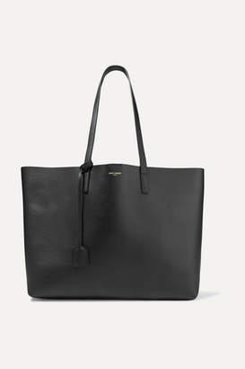 Saint Laurent Shopper Large Textured-leather Tote - Black