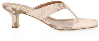 Paris Texas Python-Embossed Leather Thong Sandals