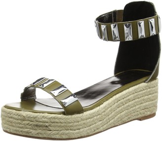 TANTRA Women Sandals Leather Espadrille Wedge Sandals with Metallic Details