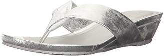 Kenneth Cole Reaction Women's Date Low Wedge Thong Sandal Metallic