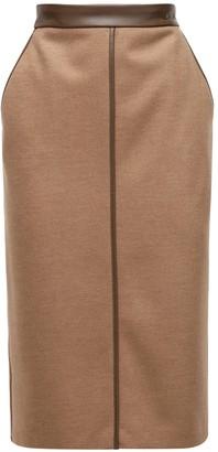 Max Mara Wool Pencil Skirt W/faux Leather Details
