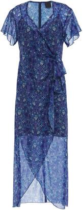 Anna Sui Draped Metallic Printed Chiffon Dress