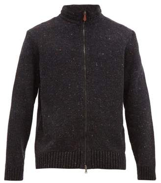 Inis Meáin Chevron Stitched Stand Collar Merino Blend Sweater - Mens - Charcoal