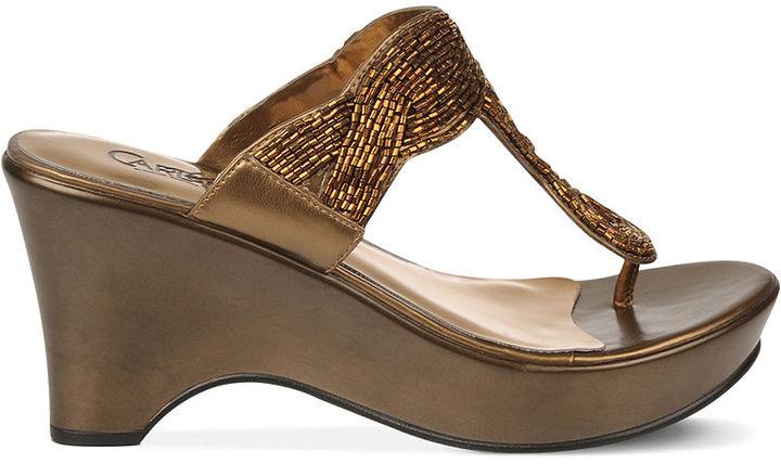 Carlos by Carlos Santana Campbell Platform Wedge Thong Sandals