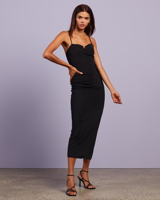 Missguided Women's Black Midi Dresses - Mesh Low Back Strappy Cami Midaxi Dress - Size 6 at The Iconic