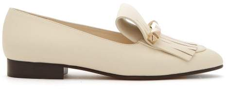 Valentino Uptown Fringed Leather Loafers - Womens - White