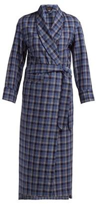 Emma Willis Checked Cotton Robe - Womens - Blue Multi