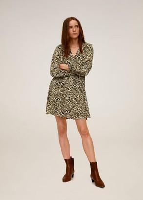MANGO Flared short dress brown - 2 - Women