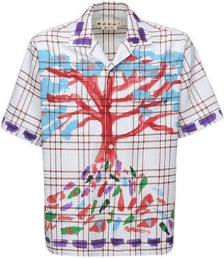 Marni Printed Check Cotton Twill Shirt