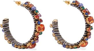 Kenneth Jay Lane 22-karat Gold-plated, Crystal, Bead And Cord Hoop Earrings