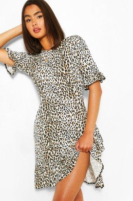 boohoo Leopard Print Asymetric Ruffle Hem Shift Dress