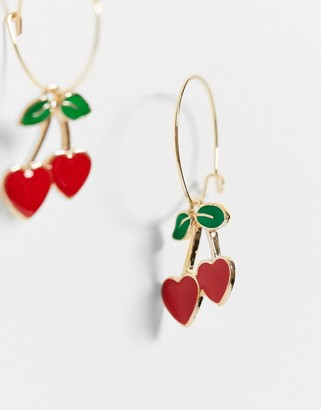 ASOS DESIGN hoop earrings with cherry charm in gold tone