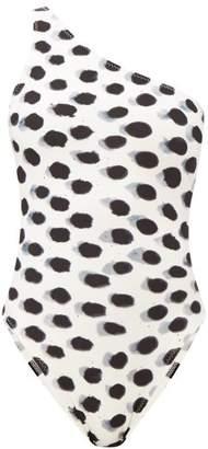Norma Kamali Mio Dot-print One-shoulder Swimsuit - Womens - White Black